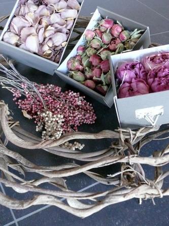 benodigdheden voor het maken van de bloemenkrans