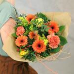 Boeket Fiona, large gebonden - oranje/geel