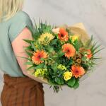 Boeket Fiona, extra large gebonden - oranje/geel