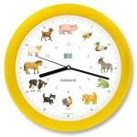 Klok Kookoo met boerderijdieren - gele lijst