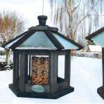 Vogelvoederhuis zeskant met ingebouwde zadensilo